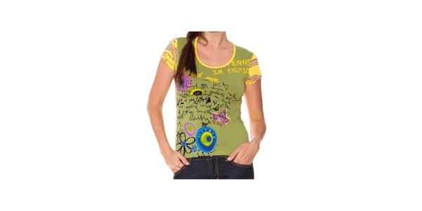 Dámské zeleno-žluté tričko s aplikacemi Sandalo