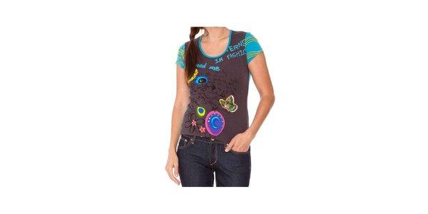 Dámské šedo-tyrkysové tričko s aplikacemi Sandalo
