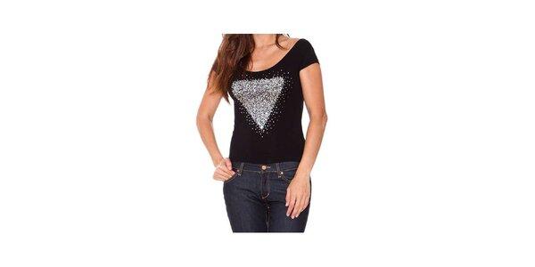 Dámské černé tričko s lesklou aplikací Sandalo