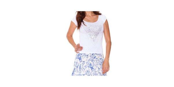 Dámské bílé tričko s lesklou aplikací Sandalo