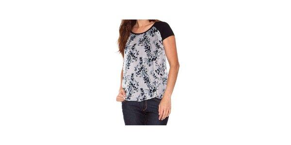 Dámské černo-bílé dvouvrstvé tričko s potiskem Sandalo