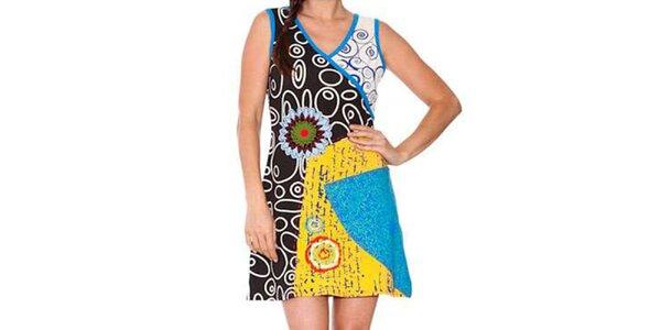 Dámské černo-tyrkysové šaty s grafickým potiskem Sandalo