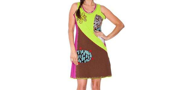 Dámské hnědo-zelené šaty s apliacemi Sandalo
