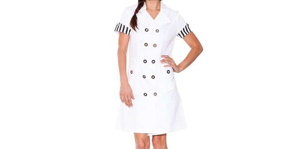 Dámské bílé šaty Sandalo s černými detaily