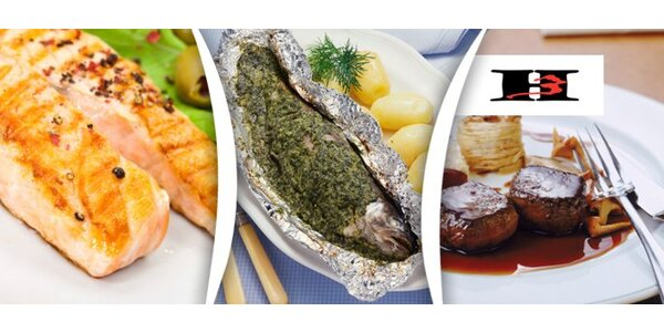 189 Kč za 2x 200g plněný steak nebo rybu s přílohou v H3 Restaurantu.
