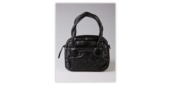 Dámská černá kabelka Ferré Milano s reliéfním logem