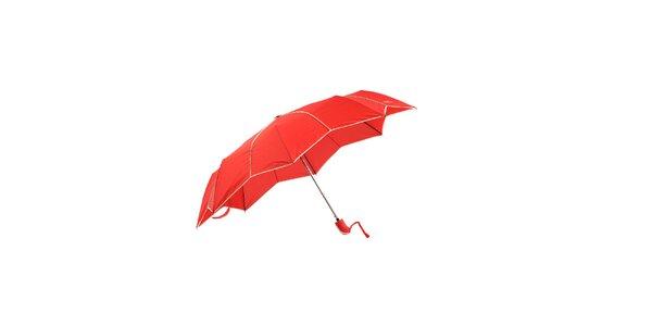 Jasně červený skládací deštník Ferré Milano s netradičně vykrojenými okraji do…