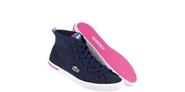 Dámské modro-růžové textilní kotníkové tenisky Lacoste