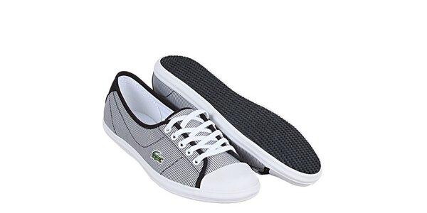 Dámské černo-bílé pruhované tenisky Lacoste