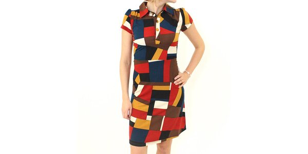 Dámské barevné šaty Smashed Lemon s kubistickým vzorem