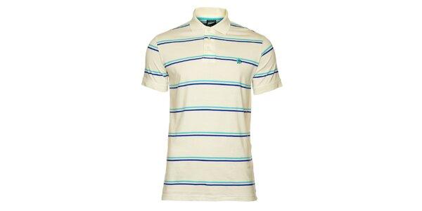 Pánské bílé tričko s modrými pruhy Fundango