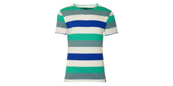 Pánské bílé tričko Fundango s barevnými proužky