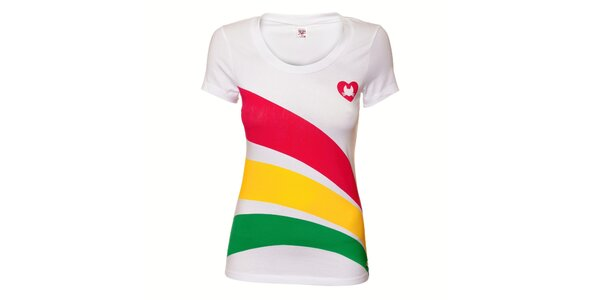 Dámské bílé tričko Pussy Deluxe s barevným potiskem