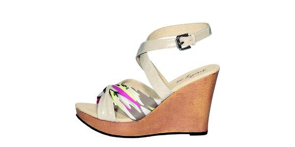 Dámské béžové sandály Derhy s barevným potiskem