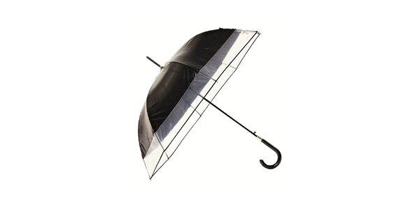 Dámský černý holový deštník Ferré Milano s transparentním lemem