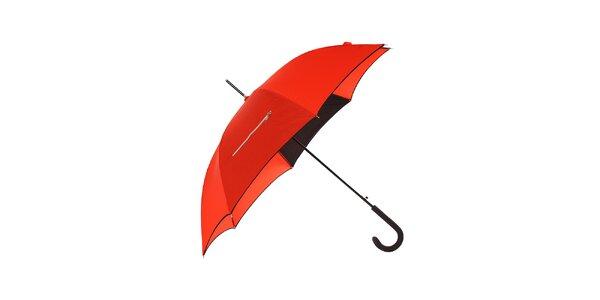 Dámský červený holový deštník Ferré Milano s černým lemem a kapsičkami