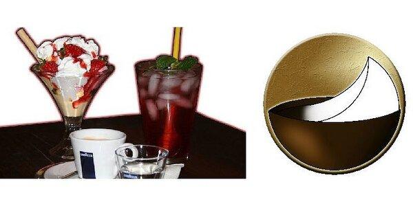 Domácí ledový čaj Dilmah nebo káva Lavazza se zmrzlinovým pohárem