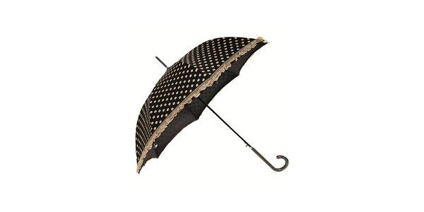 Dámský černý holový deštník Ferré Milano s krémovými puntíky