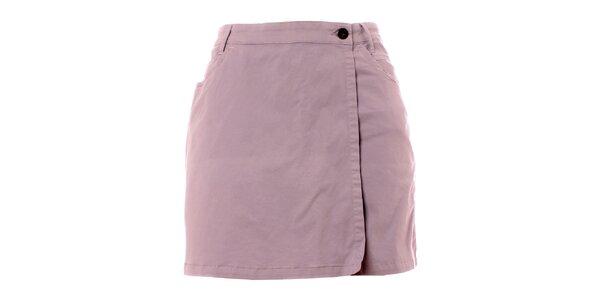 Dámské šedé šortky se zavinovacím sukňovým efektem TBS