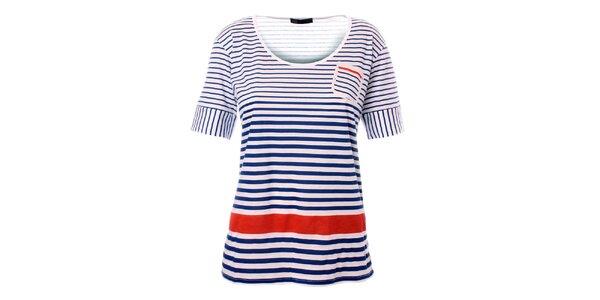 Dámské modro-bílé námořnické triko s červeným pruhem TBS