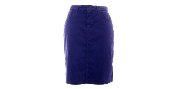 Dámská modrá sukně s kapsami TBS