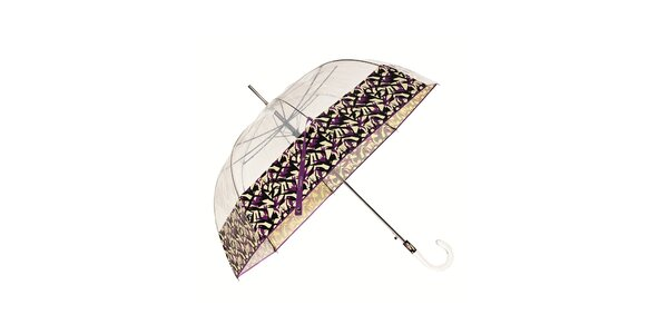 Dámský holový transparentní deštník Ferré Milano s fialovým okrajem