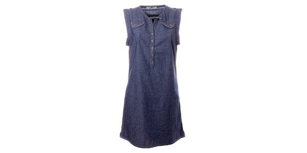Dámské modré denimové šaty s kapsičkami TBS