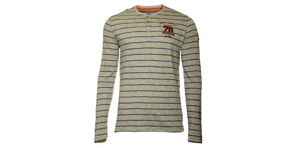 Pánské šedé pruhované tričko TBS