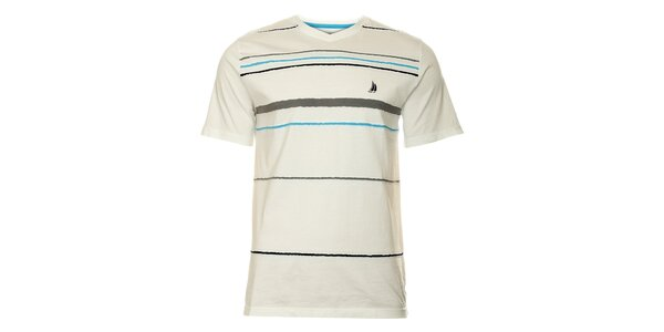 Pánské bílé proužkované tričko TBS
