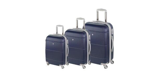 Set tří tmavě modrých kufrů na kolečkách Valisa