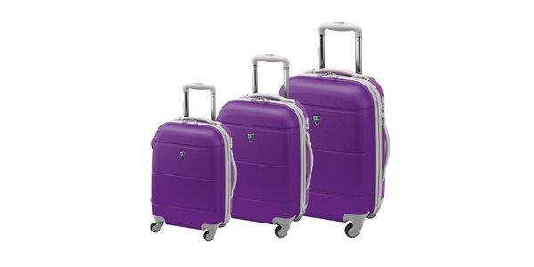 Set tří tmavě fialových kufrů na kolečkách Valisa