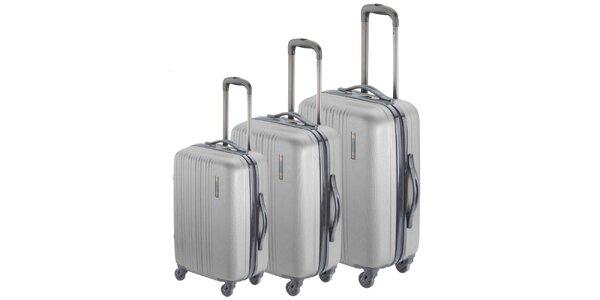 Set tří stříbrných kufrů na kolečkách Valisa