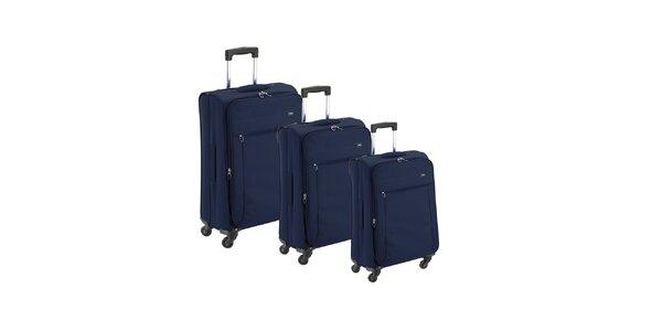 Set tří modrých látkových kufrů na kolečkách Valisa