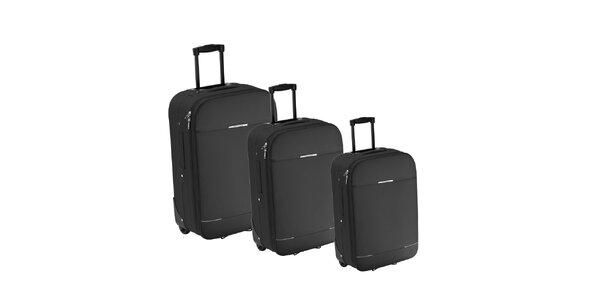 Set tří šedivých látkových kufrů na kolečkách Valisa