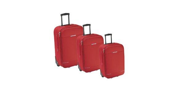 Set tří červených látkových kufrů na kolečkách Valisa