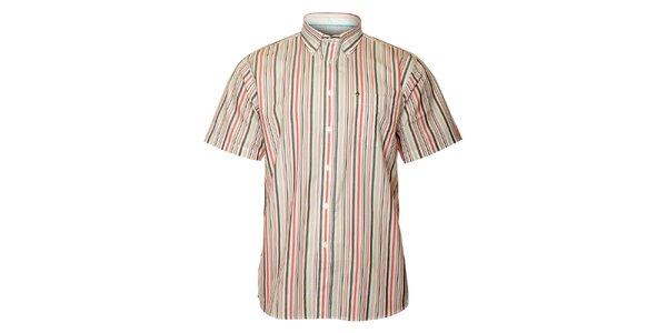 Pánská šedo-červená proužkovaná košile TBS