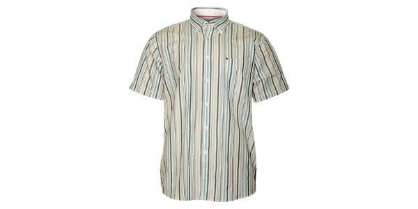 Pánská šedo-modrá proužkovaná košile TBS