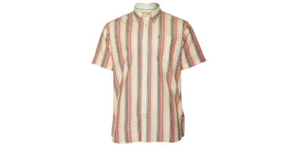 Pánská hnědo-růžová proužkovaná košile TBS