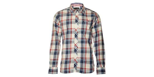 Pánská bílá košile TBS s červeno-modrou kostkou