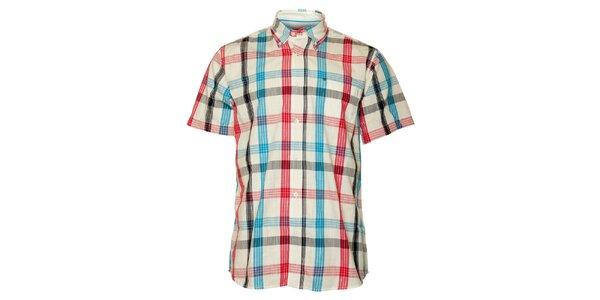 Pánská bílá kostkovaná košile TBS