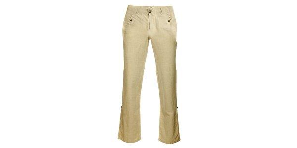 Dámské béžové lněné kalhoty TBS