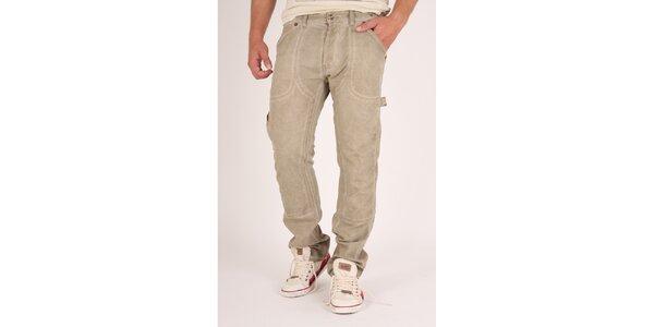 Pánské béžové šisované kalhoty Pepe Jeans