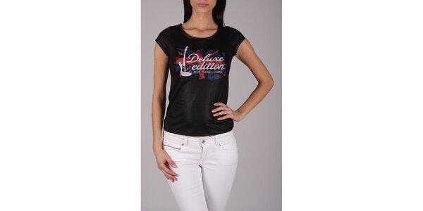 Dámské černé rockové tričko Pepe Jeans s potiskem