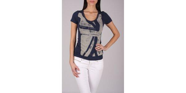 Dámské tmavě modré tričko Pepe Jeans s šedivým potiskem