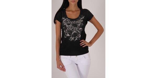 Dámské černé tričko Pepe Jeans s šedivým potiskem