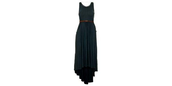 Dámské temně zelené šaty s páskem a asymetricky dlouhou sukní Pepe Jeans