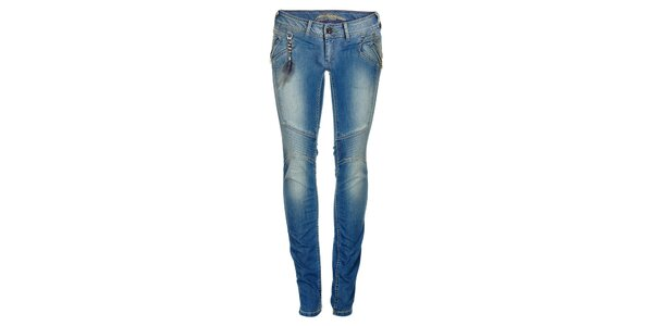 Dámské modré skinny džíny s řetízkem a peříčkem Pepe Jeans