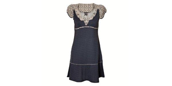 Dámské tmavě modré puntíkované šaty Vive Maria s bílou krajkou