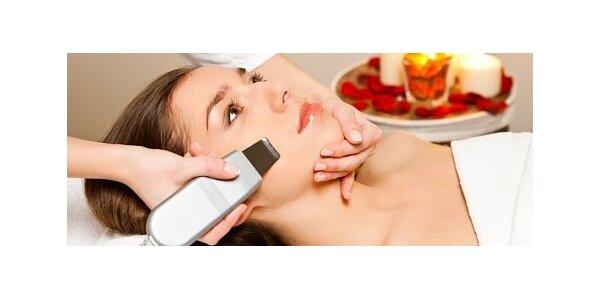 Čištění pleti ultrazvukovou špachtlí, masáž obličeje, krku a dekoltu