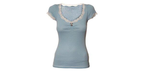 Dámské světle modré tričko Veve Maria s krajkou